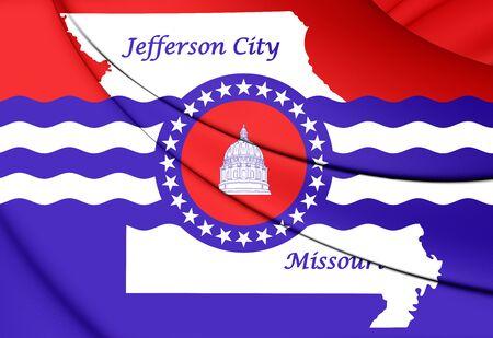 city coat of arms: 3D Flag of Jefferson City, Missouri. Close Up.