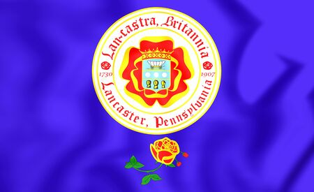 pennsylvania: 3D Flag of Lancaster (Pennsylvania), USA. Close Up.