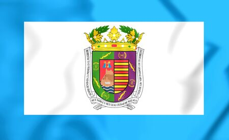 close up: 3D Flag of Malaga Province, Spain. Close Up.