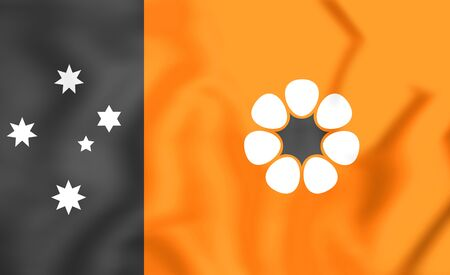 territory: 3D Flag of Northern Territory, Australia. Close Up.