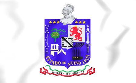 leon: 3D Flag of Nuevo Leon, Mexico. Close Up.