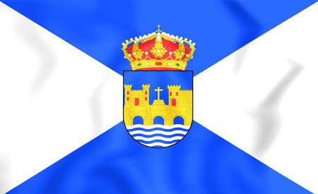 vedra: 3D Flag of Pontevedra City, Spain. Close Up.