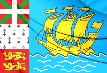 territorial: 3D Flag of Saint Pierre and Miquelon, France. Stock Photo