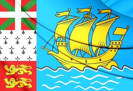 overseas: 3D Flag of Saint Pierre and Miquelon, France. Stock Photo