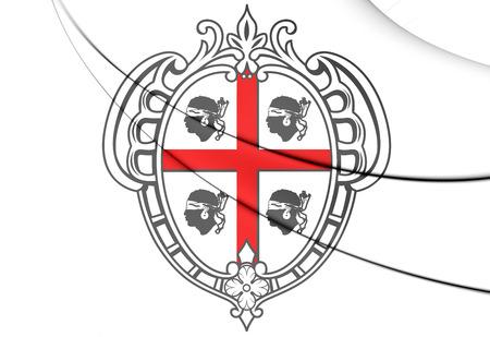 sardinia: 3D Sardinia Coat of Arms, Italy. Close Up.