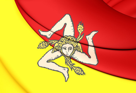 region sicilian: 3D Flag of Sicily, Italy. Close Up. Stock Photo