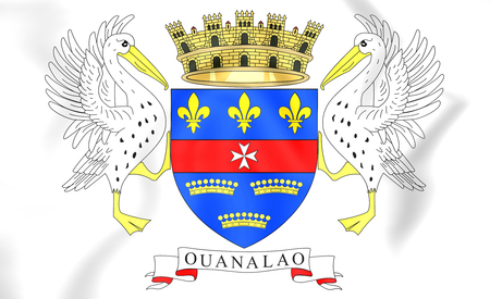 blason: 3D Flag of Saint Barthelemy. Close Up.