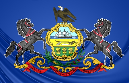 pennsylvania: 3D Flag of Pennsylvania, USA. Close Up.