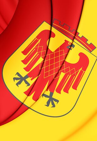 brandenburg: 3D Flag of Potsdam (Brandenburg), Germany. Close Up.