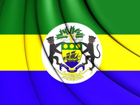 presidential: 3D Presidential Standard of Gabon. Close Up.