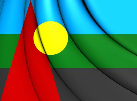nationalist: 3D Flag of Reunion (Proposed). Close Up. Stock Photo