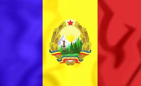 rumanian: 3D Flag of the Romania (1952-1965). Close Up.