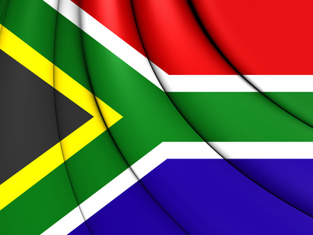 rsa: 3D Flag of the South Africa. Close Up. Stock Photo