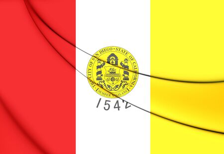san diego: 3D Flag of San Diego (California), USA.