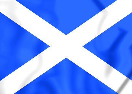 close up: 3D Flag of the Scotland. Close Up. Stock Photo
