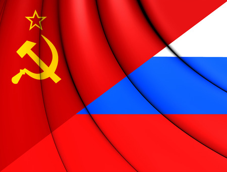 soviet flag: 3D Flag of the Soviet Union and Russia.
