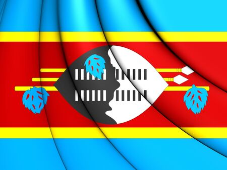 close up: 3D Flag of the Swaziland. Close Up.