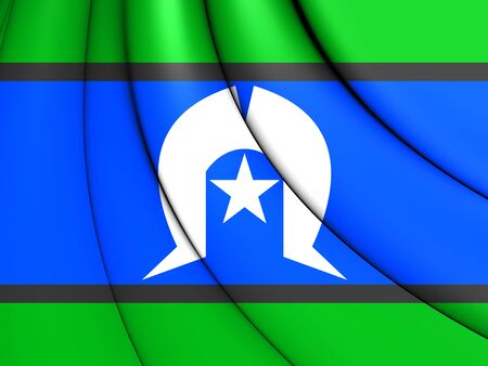 queensland: 3D Flag of Torres Strait Islanders. Close Up. Stock Photo