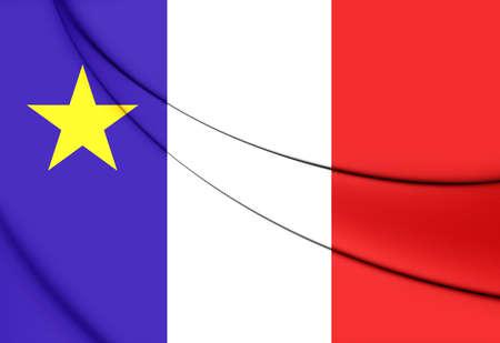 edward: 3D Flag of Acadia, Canada. Close Up.