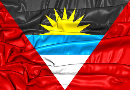 antigua: 3D Flag of Antigua and Barbuda. Close Up.