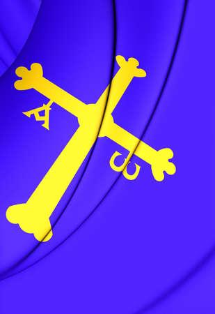 spainish: 3D Principality of Asturias Flag, Spain. Close Up.