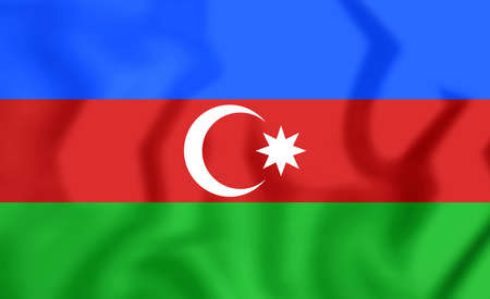 azerbaijanian: 3D Flag of the Azerbaijan. Close Up. Stock Photo