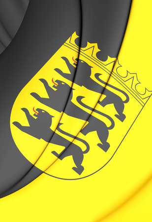 baden wurttemberg: 3D Flag of Baden-Wurttemberg, Germany. Close Up. Stock Photo
