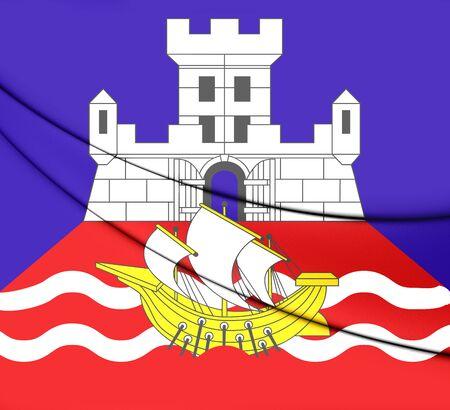 serbia: 3D Flag of Belgrade, Serbia. Close Up.