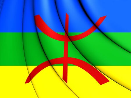 berber: 3D Berber Flag. Close Up. Front View. Stock Photo