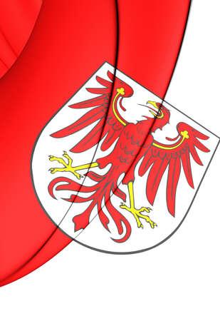 brandenburg: 3D Flag of Brandenburg, Germany. Close Up. Stock Photo
