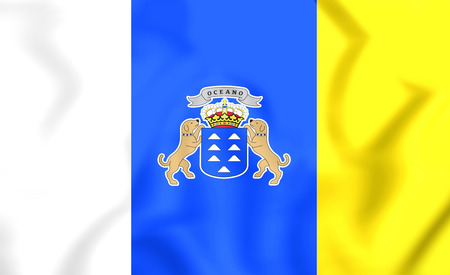 canary: 3D Flag of Canary Islands. Close Up. Stock Photo