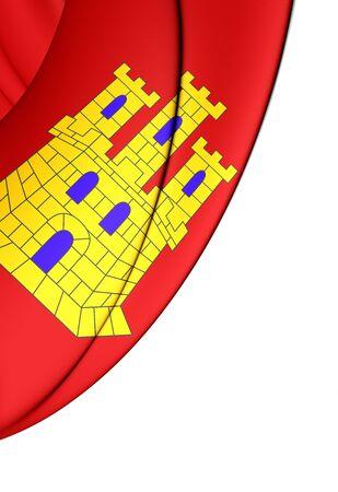 mancha: 3D Flag of Castile-La Mancha, Spain. Close Up.