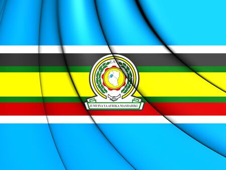 close up: 3D East African Community Flag. Close Up.