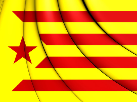 3D Red Estelada Flag, Catalonia. Close Up.