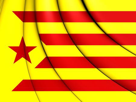 catalonian: 3D Red Estelada Flag, Catalonia. Close Up.