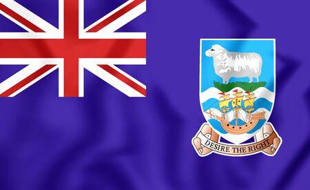 brutish: 3D Flag of Falkland Islands. Close Up. Stock Photo