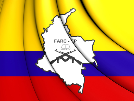 3D Flag of the FARC-EP. Close Up.
