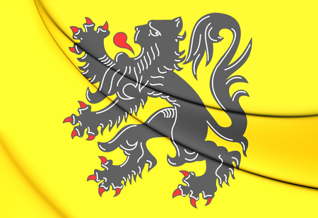 flanders: 3D Flag of Flanders Region, Belgium. Close Up.