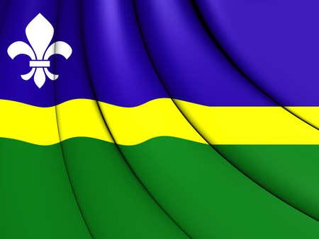 flevoland: 3D Flag of Flevoland, Netherlands. Close Up.