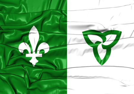 ontario: 3D Franco-Ontarian Flag. Ontario, Canada. Front View. Stock Photo