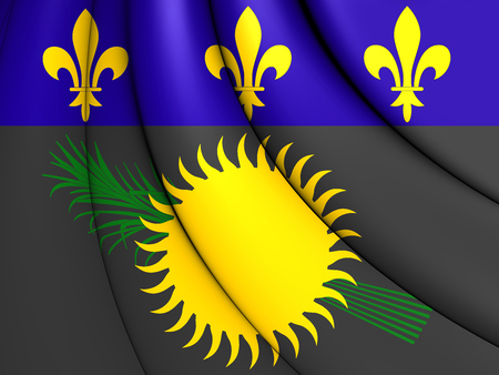 guadeloupe: 3D Flag of the Guadeloupe. Close Up. Stock Photo