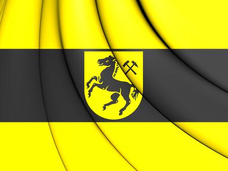 north rhine westphalia: 3D Flag of Herne, Germany (North Rhine-Westphalia). Stock Photo