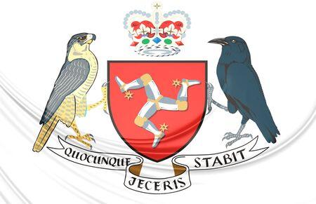 man close up: Isle of Man Coat of Arms. Close Up. Stock Photo