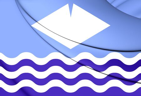 council: 3D Isle of Wight Flag, England. Close Up. Stock Photo