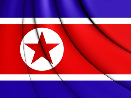 north korea: 3D Flag of North Korea. Close Up.