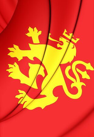 macedonian flag: 3D Flag of Ethnic Macedonian Lion. Close Up.