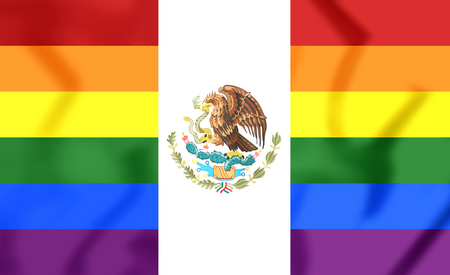 3D Mexico Gay Flag. Close Up. Front View.