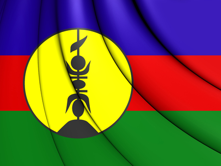 close up: 3D Flag of New Caledonia. Close Up. Stock Photo