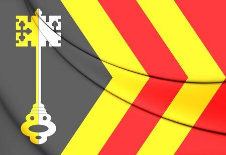 noord brabant: 3D Flag of Bladel (North Brabant), Netherlands.