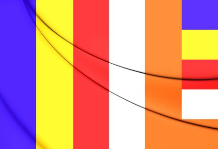 buddhist: 3D Buddhist Flag. Close Up. Front View. Stock Photo